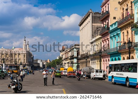 HAVANA - FEB 13: Southern portion of Paseo de Marti (Prado) boulevard with tourists and locals in Old Town of Havana on February 13, 2015. - stock photo