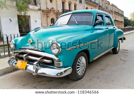 HAVANA-FEBRUARY 1:Classic blue Plymouth on February 1, 2010,Havana.Under current law that the government plans to change before 2012,Cubans can only buy and sell cars that were in use before 1959. - stock photo