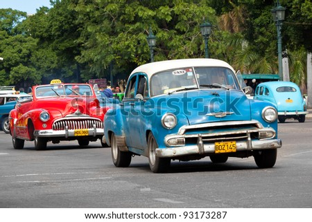HAVANA-JANUARY 15:Classic american cars January 15,2012 in Havana.Before a new law issued on October 2011,cubans could only trade old cars that were on the road before the revolution of 1959 - stock photo