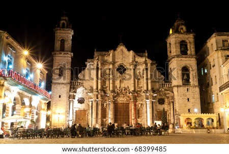 HAVANA-JANUARY 4: The Havana Cathedral at night January 4,2011 in Havana.This baroque building is the seat of the Cardinal Archbishop of Cuba and a major tourist attraction - stock photo