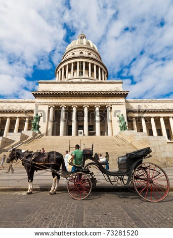 HAVANA-MARCH 14:Horse carriages wait for tourists in front of the Capitol May 14,2011 in Havana.Tourism attracts over 2 million people a year and is one of the main sources of revenue for Cuba - stock photo