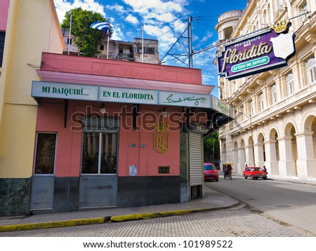 HAVANA-MAY 4:The historic Floridita restaurant May 4,2012 in Havana.The birthplace of daiquiri,a famous cuban cocktail,El Floridita was a favorite of celebrities like Ernest Hemingway - stock photo