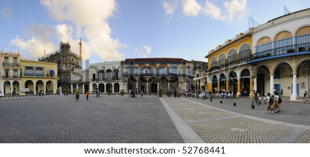 "HAVANA - NOVEMBER 3. Panoramic view of ""Plaza Vieja"" with typical buildings, declared by UNESCO World Heritage Site in 1982. Taken on nov 3, 2008 in Old Havana, cuba."