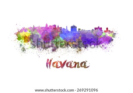 Havana skyline in watercolor splatters with clipping path - stock photo
