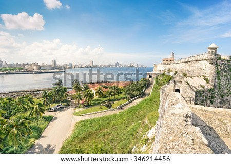 """Havana skyline view from the fortress of  """" El Morro """"on a beautiful sunny day - World famous capital of Cuba in caribbean islands - Travel concept with historical central latin american destination - stock photo"""