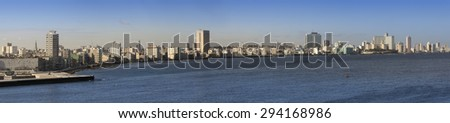 Havana. View of the  city through a bay ,panorama - stock photo