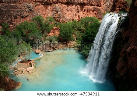 Havasu Falls Waterfall - stock photo