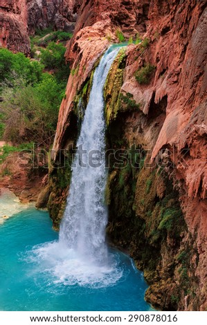 Havasu Falls, waterfalls in the Grand Canyon, Arizona - stock photo