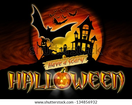 Have a Scary Halloween Graphic with Scary Tree and Bats Flying in front of haunted house.