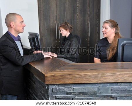 Having an appointment at the office - stock photo