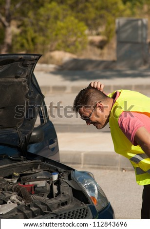 Having engine trouble and no idea about what to do - stock photo