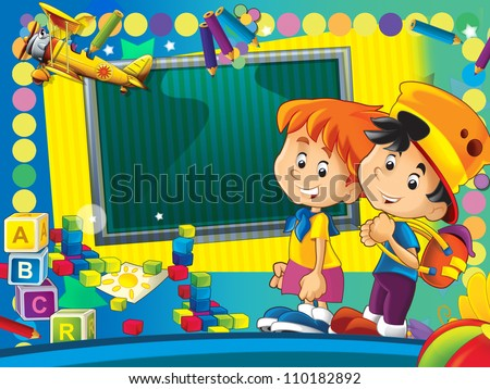 Having fun and learn - time to school or kindergarten - space for text - happy and bright illustration for the children - inspirational 6 - stock photo