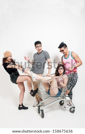 Having Fun with Shopping Trolley - stock photo