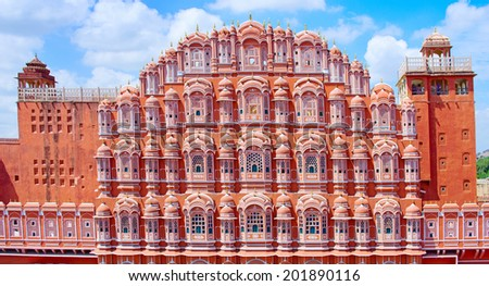 Hawa Mahal palace (Palace of the Winds) in Jaipur, Rajasthan, India - stock photo