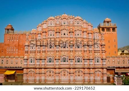 Hawa Mahal palace (Palace of the Winds) in Jaipur, Rajasthan, India - stock photo