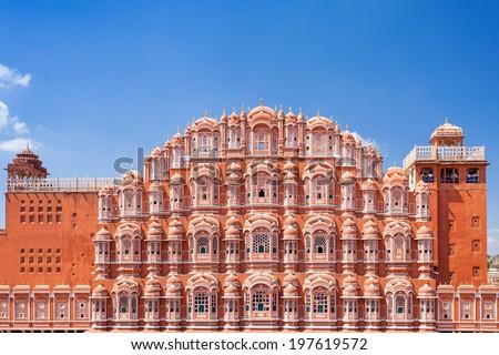 Hawa Mahal palace (Palace of the Winds), Jaipur, Rajasthan - stock photo
