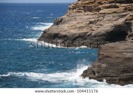 Hawaii coastline near Haunama Bay - stock photo