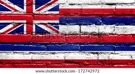 Hawaii Flag painted on brick wall