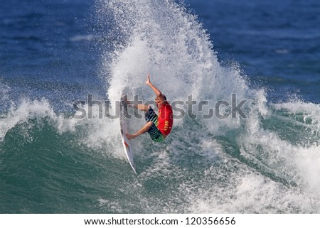 HAWAII - NOVEMBER 24: Professional surfer Sebastien Zietz wins the Reef Hawaiian Pro, stage one of the Vans Triple Crown of Surfing November 24, 2012 at Haleiwa Beach Park.