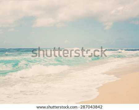 Hawaii. Oahu Island. Beautiful waves, Summer day at the beach. Vintage post processed. Travel, summer, vacation, weather, nautical exotic and surfing concept. - stock photo