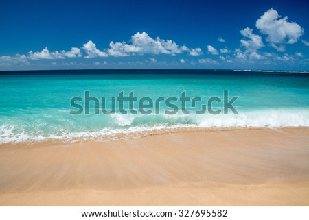 Hawaii Poipu beach landscape panorama on sunny day - stock photo