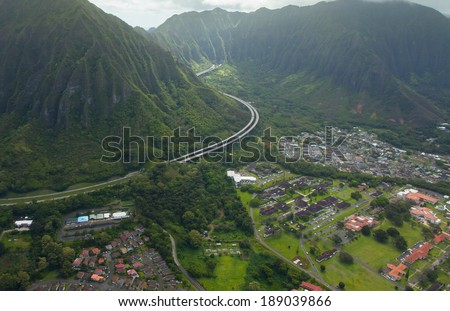 Hawaii's highways in beautiful lush green valleys - stock photo