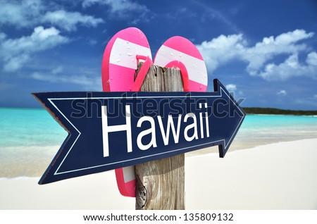HAWAII sign on the beach - stock photo