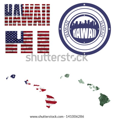 Hawaii state collage (map, stamp,word,abbreviation) in different styles in different textures - stock photo