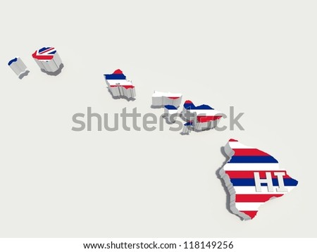 hawaii state flag on map - stock photo