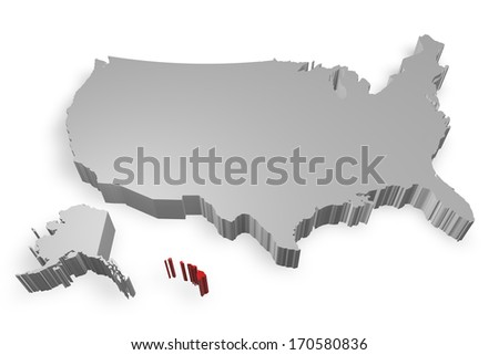 Hawaii state on Map of USA 3d model on white background
