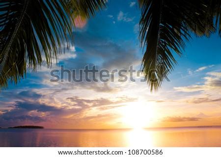 Hawaii Sunset Beach - stock photo