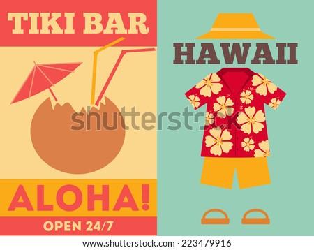 Hawaii Surf Retro Posters. Illustration. - stock photo
