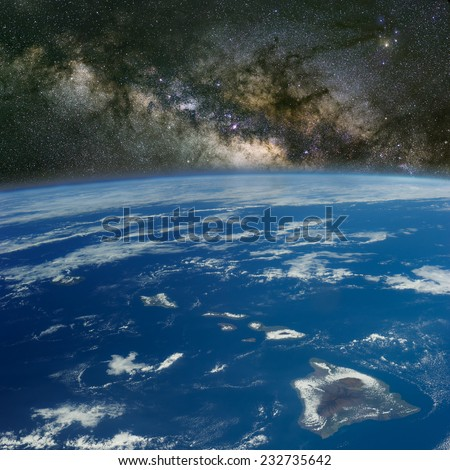 Hawaii under the Milky Way. Elements of this image furnished by NASA. - stock photo