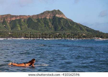 Hawaii Waikiki Beach Oahu - stock photo