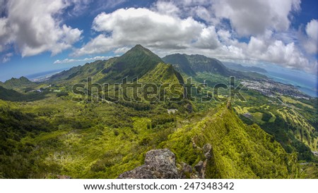 Hawaiian adventure, Pali Notches Hike - stock photo