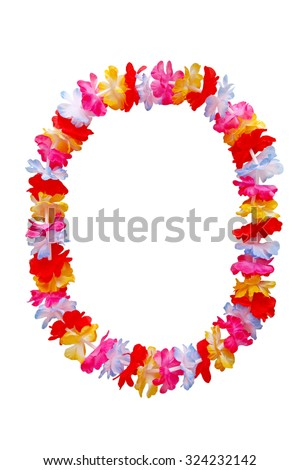 Hawaiian oval lei necklace isolated on white background - stock photo
