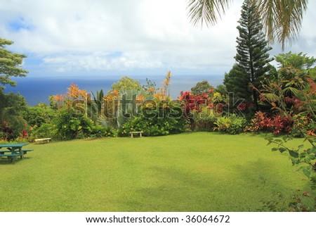 Hawaiian paradise garden by the sea - stock photo