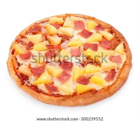 Hawaiian Pizza isolated on a white background. - stock photo
