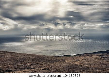Hawaiian seascape and clouds - stock photo