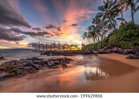 Hawaiian sunset wonder - stock photo