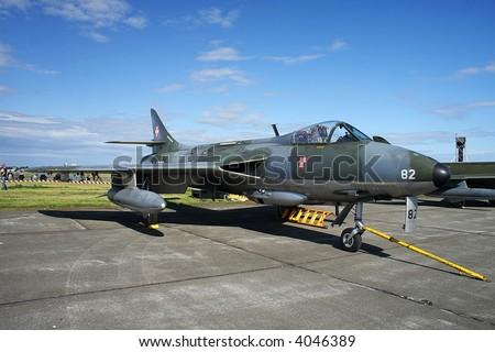 Hawker Hunter on display - stock photo