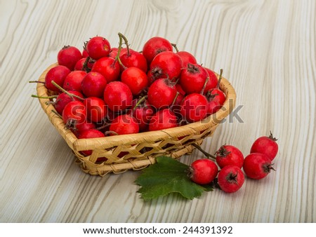 Hawthorn berries in the bowl on wood background - stock photo