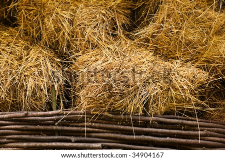 hay at haylofts close-up as a background