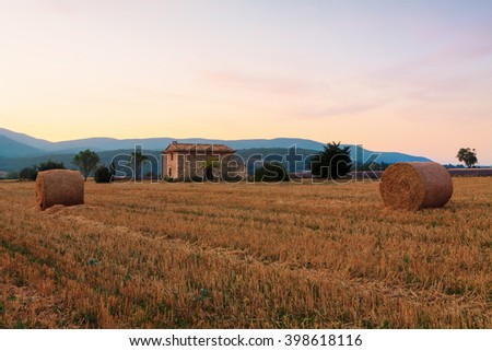 Hay bale at sunrise the Provence region in France