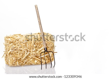 Hay bale with tool on a white background - stock photo