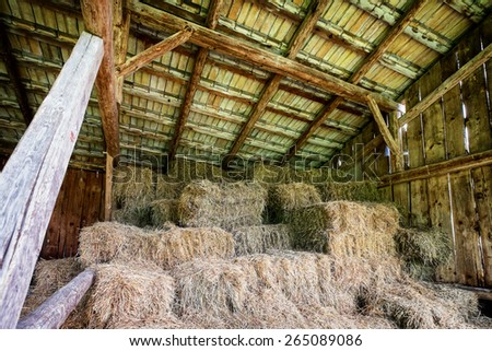 hay bales at a stable - stock photo