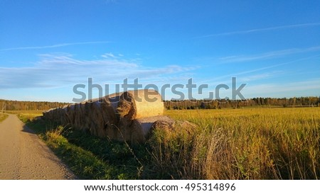Hay bales next to the road in sunny farm fields with blue sky at countryside in Finland