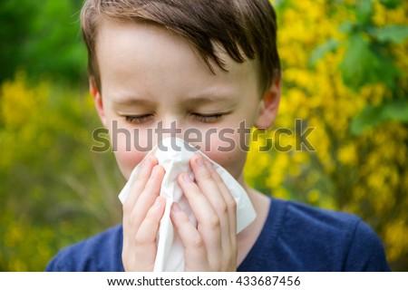 Hay fever - allergic rhinitis in children - stock photo