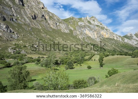 Hay meadows in Valle del Lago, one of fifteen parishes in Somiedo, a municipality located in the central area of the Cantabrian Mountains, Principality of Asturias, Spain - stock photo