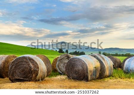 Haystack at sunset, Tuscany landscape, Toscana, Italy - stock photo